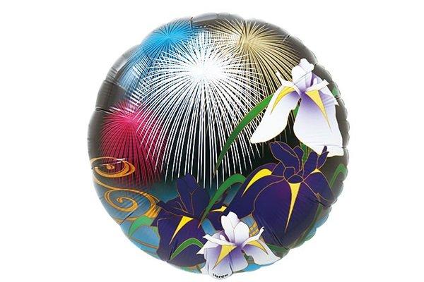画像1: 花火と菖蒲和風風船5枚 (1)