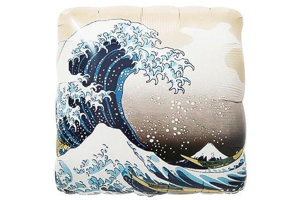 画像1: 和柄神奈川沖浪裏風船5枚 (1)